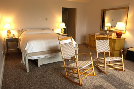 Murphin Ridge Inn, comfortable room- warm wood tones